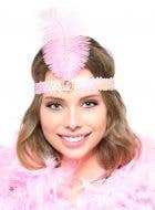 Light Pink 20's Feather Flapper Headband