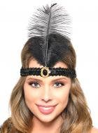 Black Feather Roaring 20's Flapper Headband