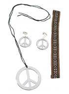 Hippie Silver Peace Sign Costume Accessory Set