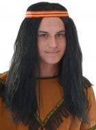 Native American Men's Long Black Costume Wig