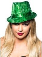 Sequined Green Gangster Fedora Costume Hat