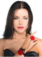 Red Rose and Black Lace Slave Bracelet