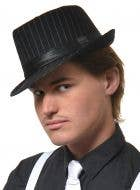 Men's Black and White Stripe Wool Look Gangster Trilby View 1