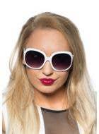 White 70's Retro Sunglasses Costume Accessory Main Image