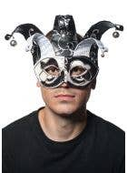 Musical Jester Masquerade Mask in Black and White