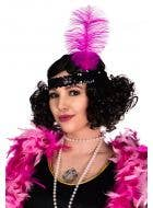 Black Sequinned Flapper Headband With Large Fuchsia Feather View 1