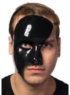 Men's Black High Shine Phantom of the Opera Half Face Masquerade