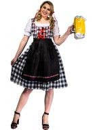 Black and White Checkered Women's Long Oktoberfest Costume Front View