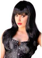 Straight Long Black Women's Glamour Wig with Fringe