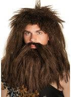 Caveman Men's Brown Prehistoric Costume Wig and Beard Set
