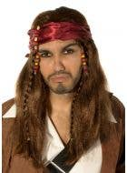 Caribbean Pirate Captain Brown Wig and Head Scarf