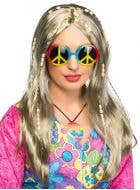 Womens Long Blonde Beaded Hippie Wig Costume Accessory - Main Image