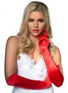 Women's red Elbow Length Deluxe Satin Gloves Main Image