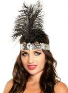 Silver and Black Tall Feather 1920's Flapper Headband