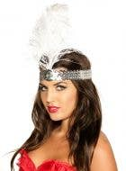 White Tall Feather and Silver 1920's Flapper Headband View 1
