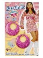70's Glitter Mod Earrings - Magenta