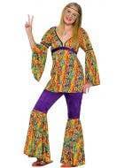 Girl's Rainbow Hippie Retro Woodstock Costume Front