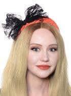 80's Neon Orange Lace Headband with Black Bow