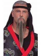 Grey Long Beard and Moustache Biker Ninja Costume Accessory - Main Image