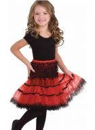 Girl's Black and Red Lace Costume Petticoat Front