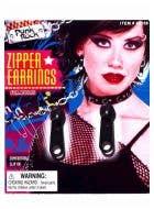 80's Clip On Black Zipper Costume Earrings