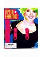 Women's Hot Pink Fluro Zipper Clip On 80s Costume Earrings - Main Image