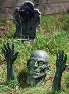 Lawn Ground Breaker Zombie Head and Hands Halloween Decoration Prop