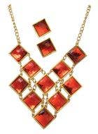 Women's Gatsby Roaring 20's 1920's Red And Gold Necklace And Earrings Jewellery Costume Accessory Set