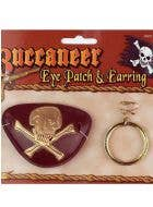 Pirate Eye Patch and Earring Costume Accessory Set