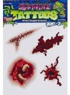 Gruesome Fake Zombie Wounds Temporary Tattoo Set