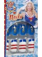Stick On Sailor Theme Fake Nails
