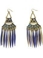 Deluxe Blue and Gold Egyptian Chandelier Costume Earrings for Pierced Ears - Main View