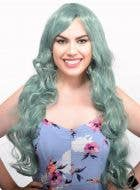 Womens Long Curly Dusty Green Costume Wig Front Image