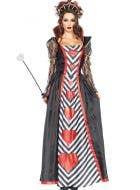 Queen Of Hearts Deluxe Women's Long Costume Front View