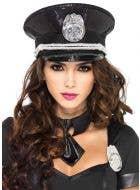 Sequined Deluxe Cop Costume Hat Front View