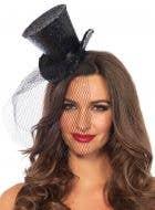 Women's Mini Black Top Hat with Glitter Costume Accessory