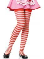 Striped Girl's Red and White Costume Accessory Tights