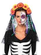 Sugar Skull Women's Day of The Dead Headpiece