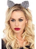 Black Cat Costume Ears with Silver Studs