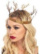 Gold Metal Forest Fantasy Woodland Queen Costume Crown