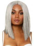 Short Silver Tinsel Highlight Women's Deluxe Wig