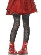 Girls Black Spider Web Halloween Costume Tights