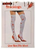 Opaque White Bloody Thigh High Halloween Stockings