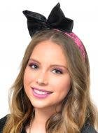 Awesome 80's Neon Pink and Black Bow Headband