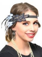 1920's Gatsby Black and White Feather Flapper Headpiece