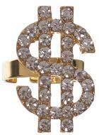 Gold Dollar Sign Bling Ring with Rhinestones