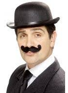 Curled Black English Moustache Fancy Dress Costume Accessory Main