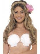 Women's White Shell Bra Novelty Hawaiian Costume Accessory