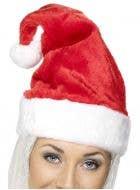 Deluxe Plush Red Velvet Christmas Santa Hat with White Faux Fur Trim
