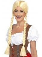 Smiffys bavarian beauty womens long blonde plaited oktoberfest costume wig - Main Image